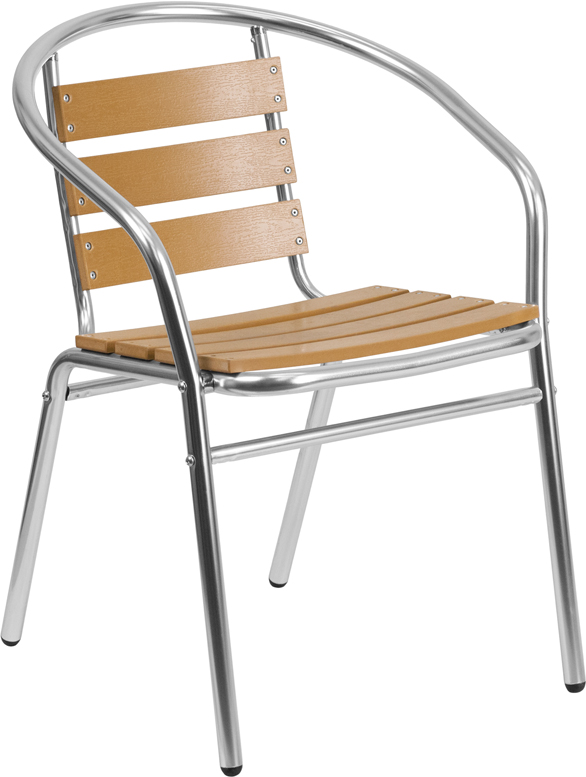 Pleasant Aluminum Indoor Outdoor Stack Chair With Triple Slat Faux Teak Back Inzonedesignstudio Interior Chair Design Inzonedesignstudiocom