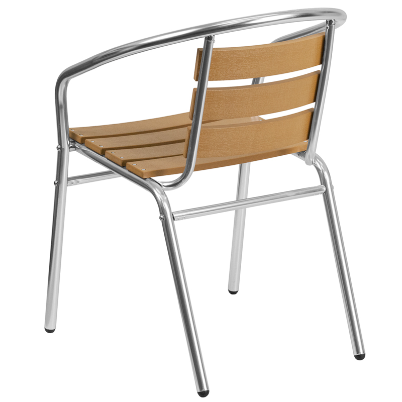 Aluminum Indoor Outdoor Stack Chair With Triple Slat Faux