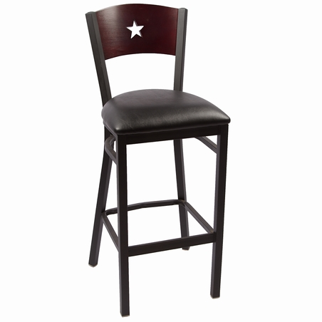 Liberty Wood Back Metal Bar Stools In Clear Coat J1003bc Commercial