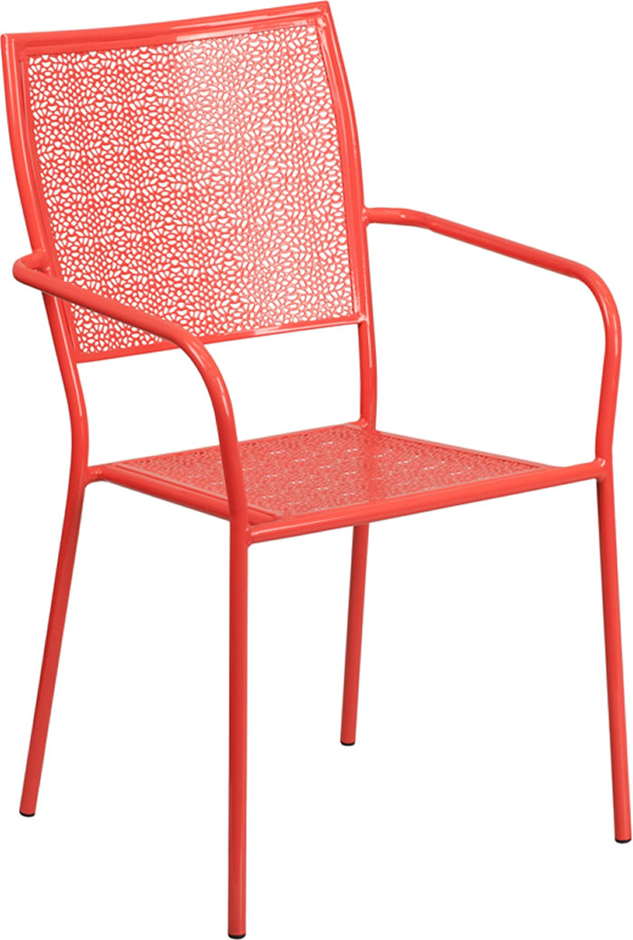 Indoor Outdoor Colored Steel Patio Arm Chair With Square