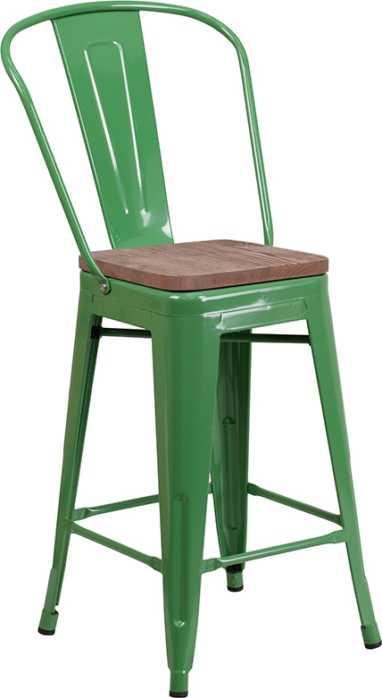 Groovy Industrial Metal Indoor Wood Seat Counter Height Stool Pabps2019 Chair Design Images Pabps2019Com