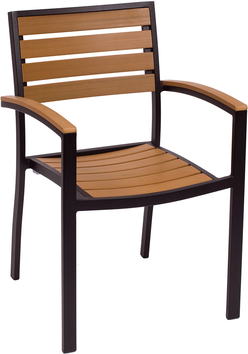 Largo Synthetic Teak Stackable Arm Chair Fph101ctk