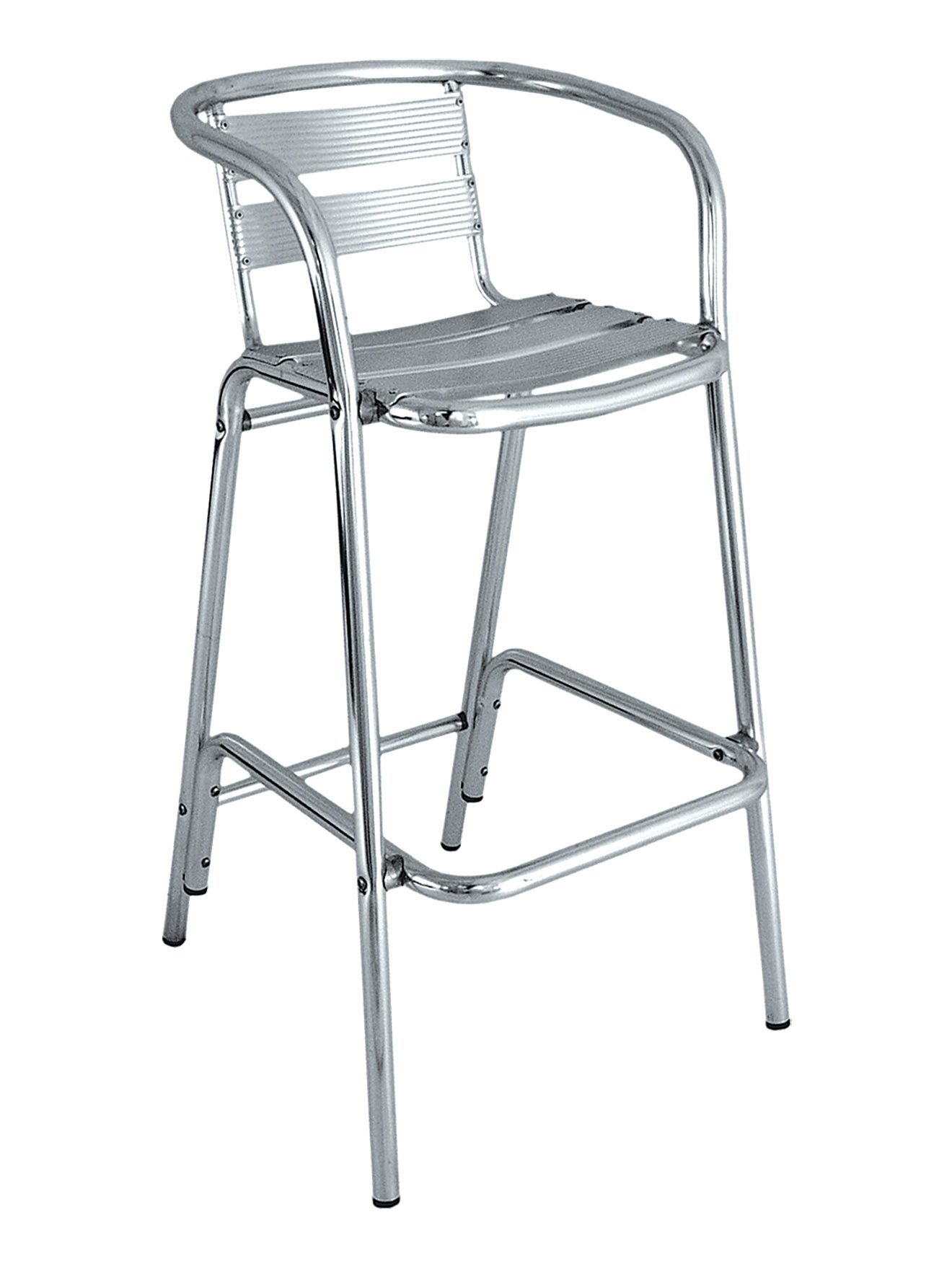 round frame ladder back aluminum bar stool picture 1