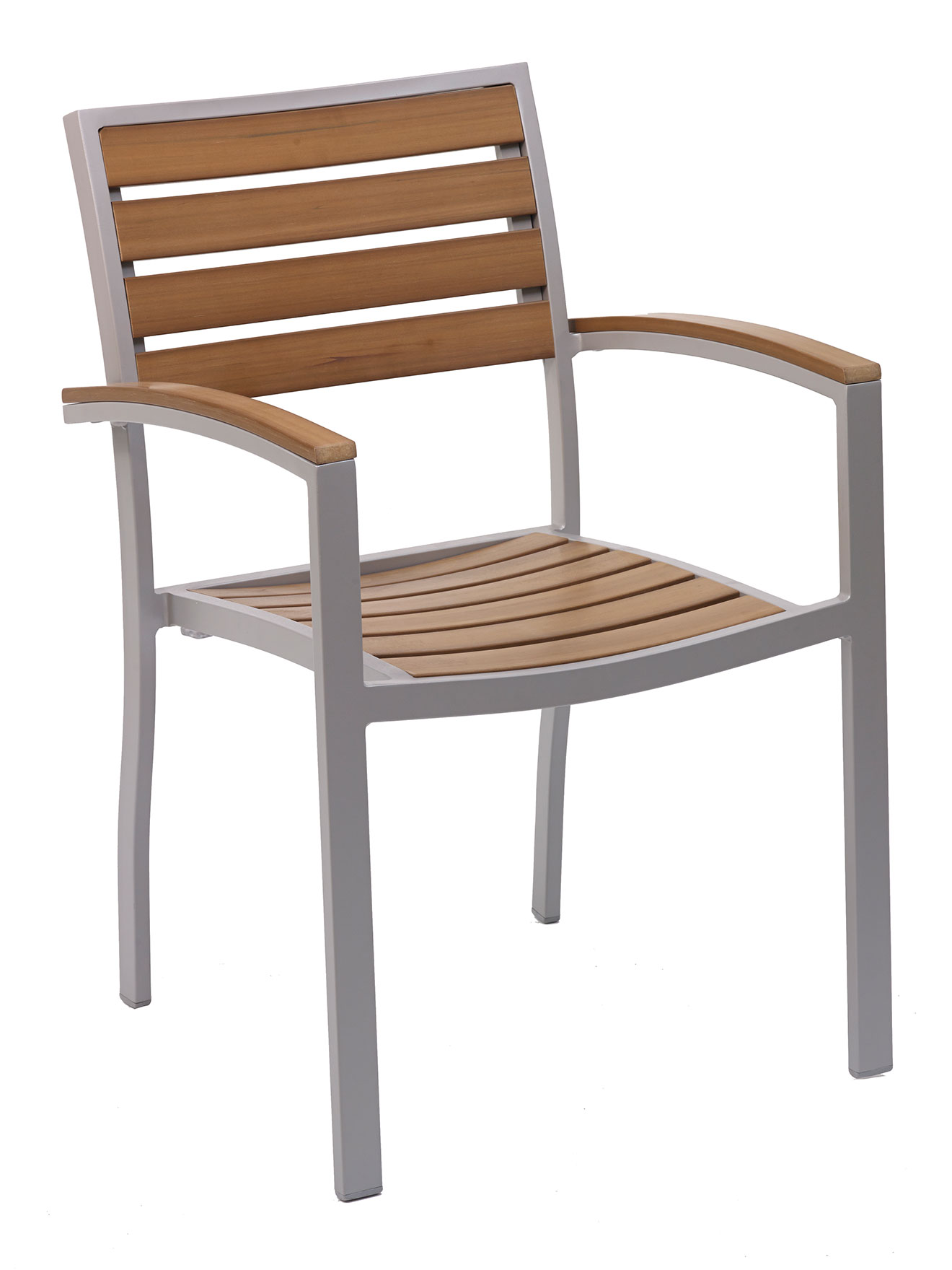 Teak Aluminum Square Frame Arm Chair St5602c Commercial Restaurant Furniture Chairs Bar Stools
