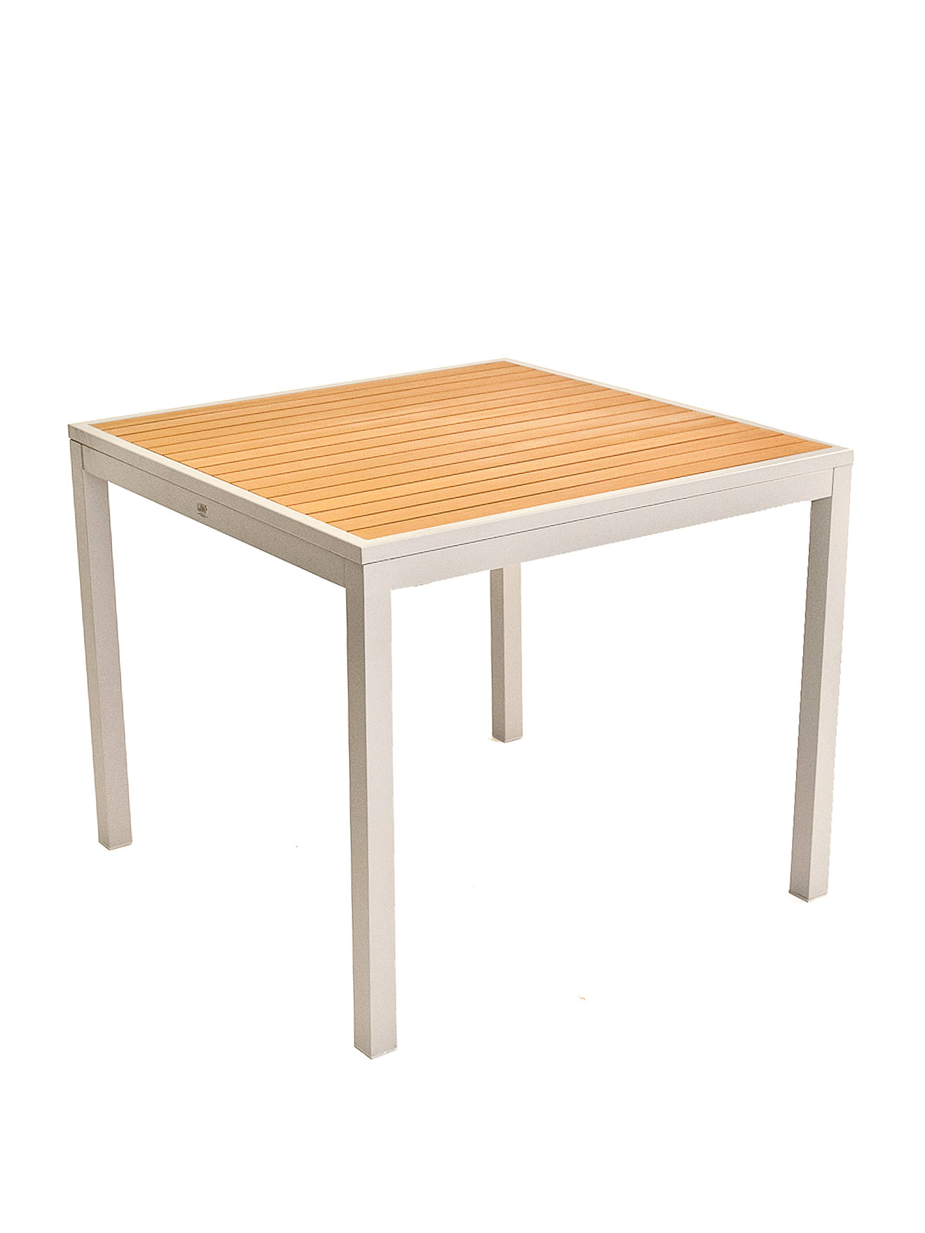 Faux Teak Inlay Aluminum Table Stiat Commercial Restaurant