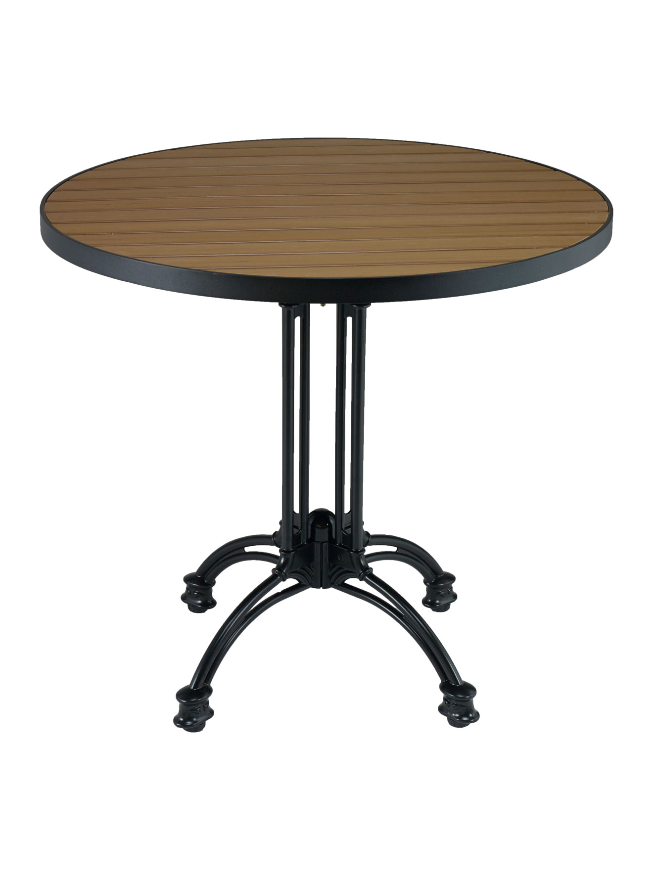 Faux Teak Metal Frame Round Table Top